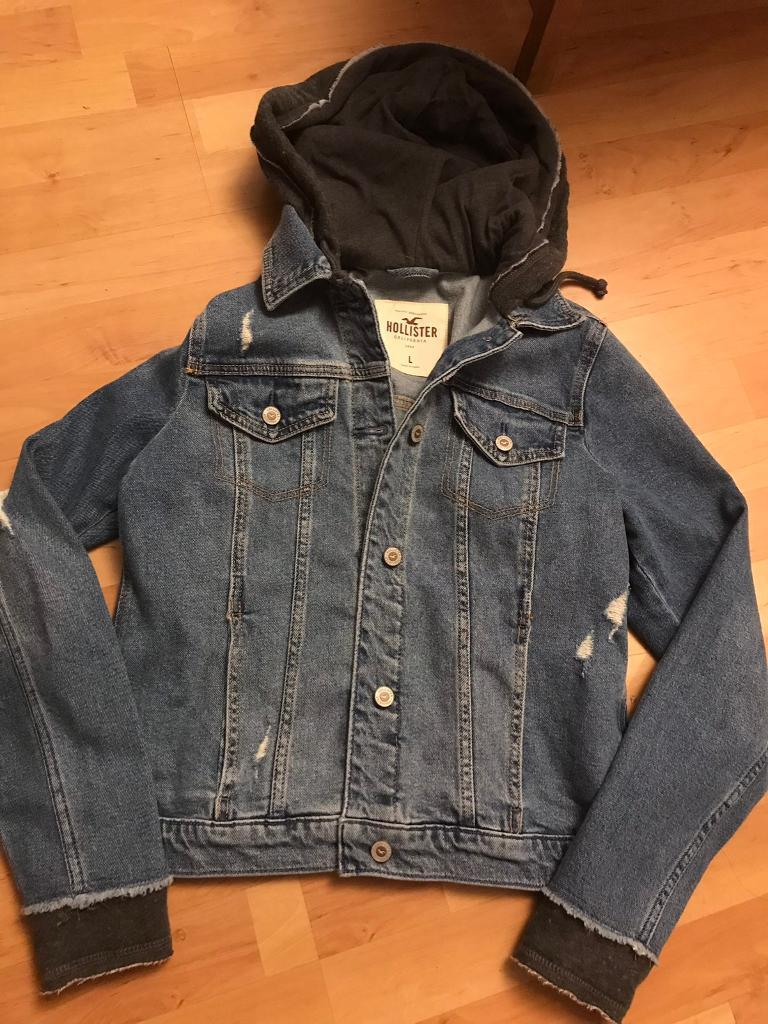 Hollister Denim Jacket With Fitted In Hood Distressed Look In