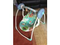 Baby rocker with battery operated rocking motion