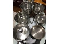6 Stainless Steel Pots