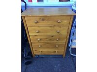 Solid Pine 5 Drawer Chest can be delivered