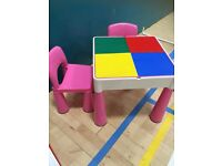 Liberty pink reversible Lego table and chairs