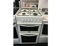 BELLING WHITE 50CM WIDE DOUBLE OVEN FULL GAS COOKER WITH GLASS LID