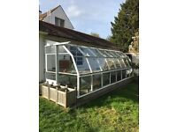 Large lean-to greenhouse with planting tables