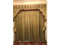 Set of professionally made curtains complete with matching tie backs & pelmet