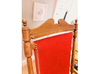 Solid wood rocking chair with red velvet
