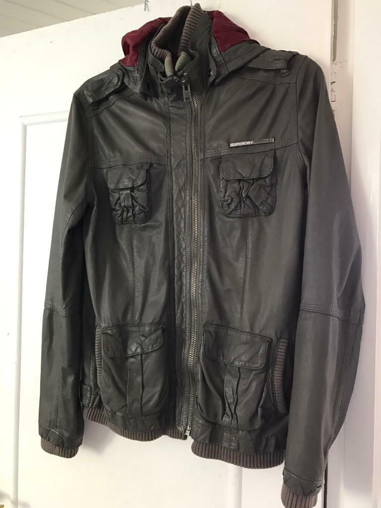 Superdry hooded leather jacket unisex mens ladiesin Croydon, LondonGumtree - Beautiful soft leather jacketGrey colourAll superdry zips and tags, excellent conditionHooded red silk liningWelcome to view