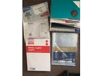 Lots of new notebooks, printing paper, envelopes and folders, bins, etc. all good condition