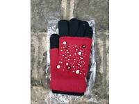 New red/black 3 in 1 gloves with pearl and sequin pattern