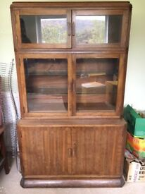 Job lot of antique cabinets, drawers, dressers, drinks cabinet and book cabinet.