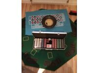 Poker and roulette table top plus accessories