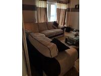 Biege & Brown Corner piece sofa