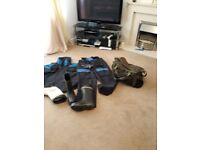 Fishing suit, wellies, bag and gloves
