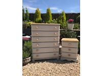 Hand painted chest of drawers and bedside table. Shabby chic style. Storage