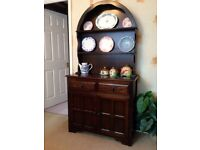 SOLID DARK WOOD DOME DUTCH DRESSER - WITH 2 DRAWERS AND DOUBLE CUPBOARD.