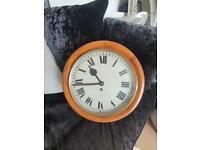 "Exquisite Quality Late Victorian Oak 12"" - 16"" Fusee Antique Original Farmhouse Wall Clock"