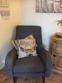 Large grey modern chair from dfs