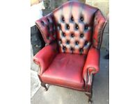 Stunning Red Leather High Quality Queen Ann Chesterfield Chair FREE delivery