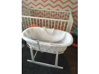 Moses Basket with flannel cover, Stand, Mattress and Sheet