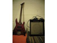 Beautiful Ruby Red Westone Spectrum Series II Bass Guitar + Marlin Amp