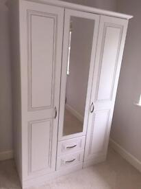 3-Door Mirrored Wardrobe, 2 drawer