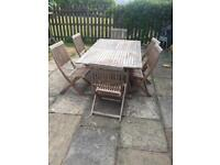 B&Q solid teak garden table and 6 chairs