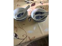 Set of Chinese bowls and spoons for sale  Warwickshire