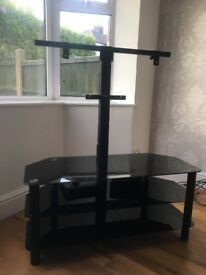 Black glass tv stand and mount