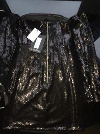 Black Sequin Long Sleeve Bodycon Dress Size 6