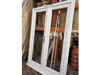 New White UPVC French Patio Door Glass 1450mm W x 1985mm H