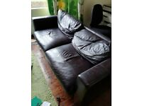 FREE Dark Brown Faux Leather Sofa approx 180cm