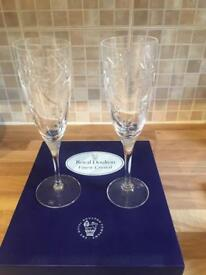 Royal Doulton Finest Crystal 'Jasmine' Champagne Flutes x 4