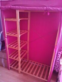 Large pink canvas wardrobe with shelves x