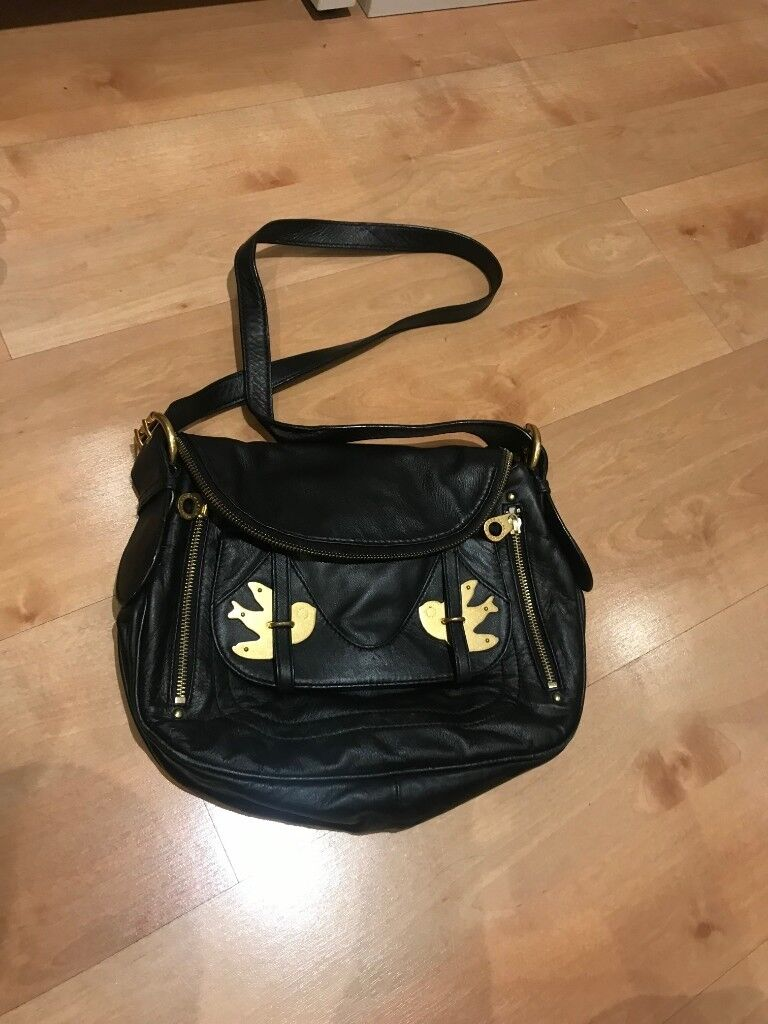 806bee6fb25e Marc Jacobs Black Natasha Petal to The Metal Crossbody Fold Over Bag W  Bird