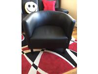 Black leather effect IKEA tub chair