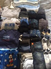 Bundle of baby boy clothes/Door bouncer and Baby walker