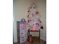 Barbie White Feather Fibre Optic Christmas Tree