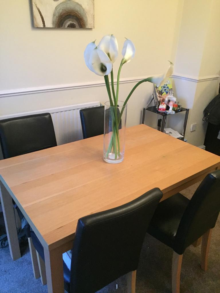 **FOR SALE** Wooden table & 4 Black Leather Chairs