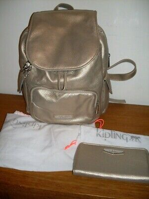 KIPLING PREMIUM GOLD LEATHER CITY PACK S BACKPACK BAG/HANDBAG+ MATCHING PURSE