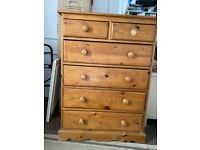 Well built pine chest of drawers