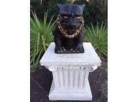 Gilt Bronze Style Heavy Gothic Hell Hound Dog Guardian Chain Gargoyle Statue