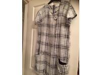 Black and white women's shift dress