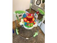 Fisher price rainforest jumperoo, baby jump spinning seat.