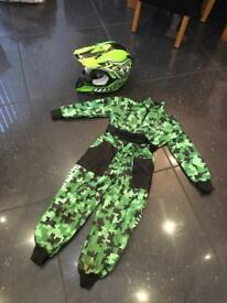 Kids moterbike gear helmet and body suit
