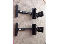 Pair (2) AVF Heavy Duty Wall Mount Adjustable Speaker Brackets in Black