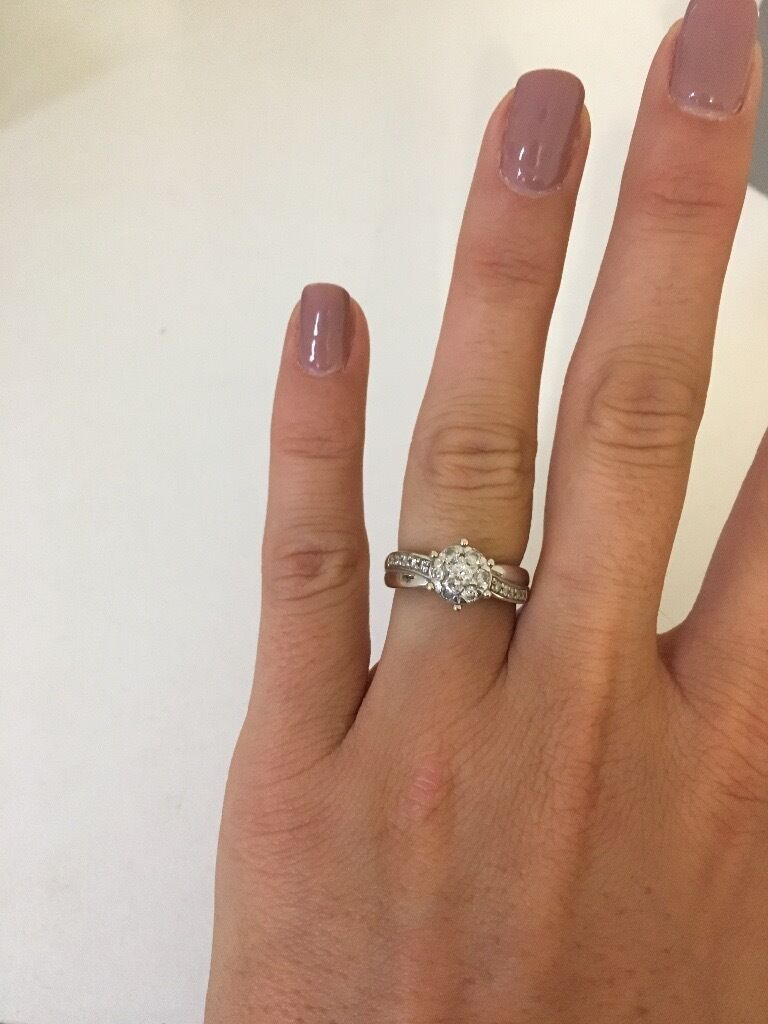 9ct White Gold Real Diamond Engagement Ring Size N