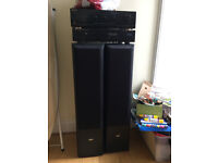 CD player, AMP and tall speakers
