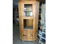 Pine cupboard with glass cabinet for display. Beautifully made of Mexican pine.