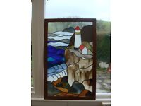 Hand made stained glass composition, mounted in hardwood frame