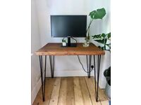Handmade desk/table with hairpin legs