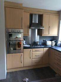 Kitchen Beech Laminate Doors with silver Handles